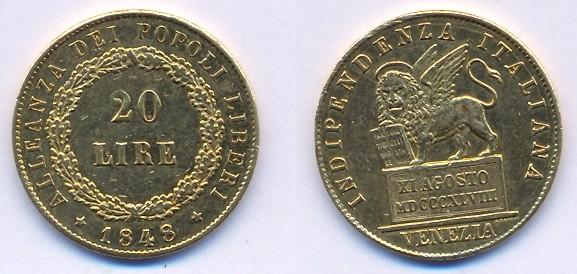 20 Lire Marengo 1848